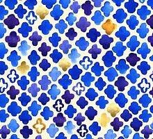 Rustic Watercolor Moroccan in Royal Blue & Gold by Tangerine-Tane