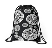 Black and White Vintage Clock Pattern Drawstring Bag