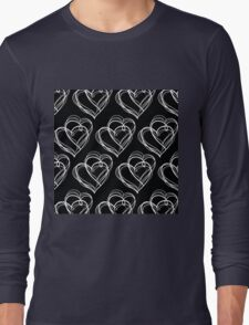 Black and White Vintage Heart Pattern Long Sleeve T-Shirt