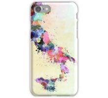 Italy map watercolor style splash iPhone Case/Skin
