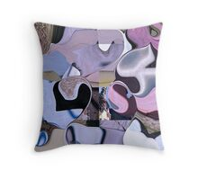 Psychedelia coast -  pink & purple collage Throw Pillow