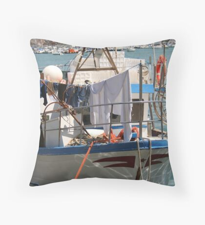 Self-sufficient fisherman Throw Pillow