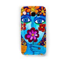 Flower Power Hand Drawn Face Samsung Galaxy Case/Skin