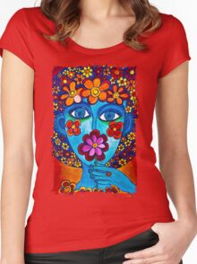 Flower Power Hand Drawn Face Women's Fitted Scoop T-Shirt