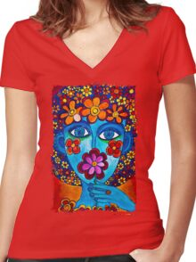 Flower Power Hand Drawn Face Women's Fitted V-Neck T-Shirt