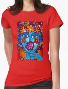 Flower Power Hand Drawn Face Womens Fitted T-Shirt