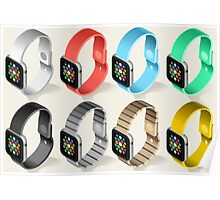 Isometric Smart Watch in Six Colors Poster