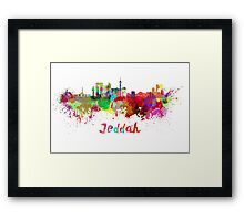 Jeddah skyline in watercolor Framed Print