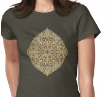 White Gouache Doodle on Gold Paint Womens Fitted T-Shirt