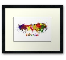 Istanbul skyline in watercolor Framed Print