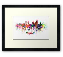 Riyadh skyline in watercolor Framed Print