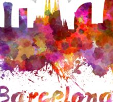 Barcelona skyline in watercolor Sticker