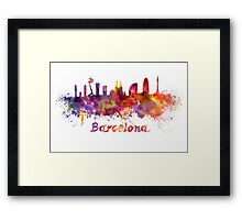 Barcelona skyline in watercolor Framed Print