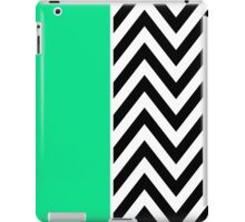 Half Black and White Chevron Pattern with Green Turquoise Color iPad Case/Skin
