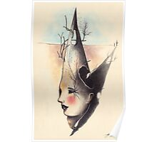 Surreal Female Head and Landscape Poster