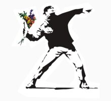 Banksy flower warrior by 2piu2design
