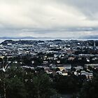Central part of Trondheim from bus trip Trondheim Norway 198406220003 by Fred Mitchell