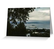 Cruise liner in port Trondheim Norway 19840622 0004 Greeting Card