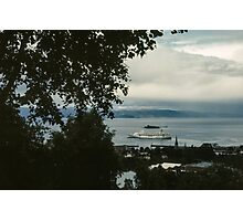 Cruise liner in port Trondheim Norway 198406220004 Photographic Print