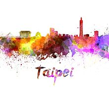 Taipei skyline in watercolor by paulrommer
