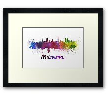 Manama skyline in watercolor Framed Print