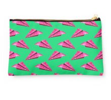 Pink Paper Plane On Green Base Studio Pouch