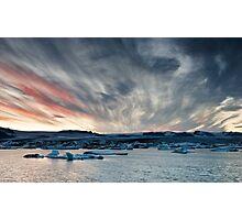 Sunset at Glacier Lagoon Photographic Print