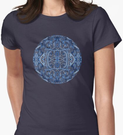 Indigo Blue Watercolor Swirl Pattern Womens Fitted T-Shirt