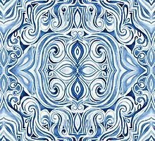 Indigo Blue Watercolor Swirl Pattern by micklyn
