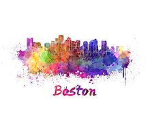 Boston skyline in watercolor Photographic Print