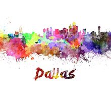 Dallas skyline in watercolor by paulrommer