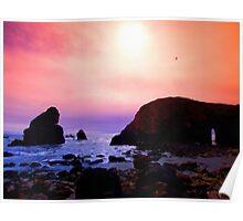 A quiet dusk along the coast Poster