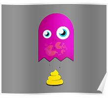 Pink pac man ghost is pooping yellow poop Poster