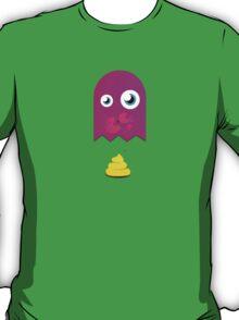 Pink pac man ghost is pooping yellow poop T-Shirt
