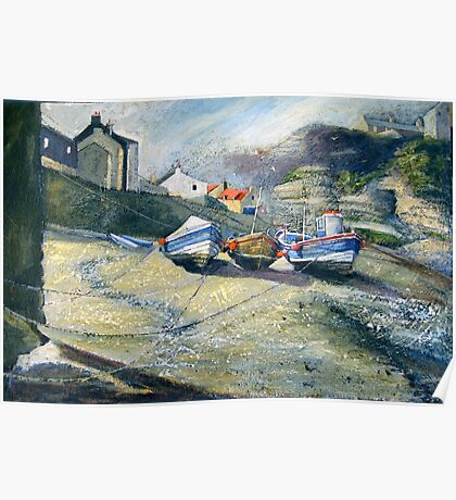 Cobles in the Beck, Staithes Poster