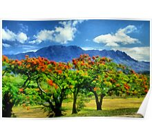 Blue mountain background Poster