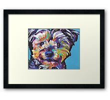 Yorkie Yorkshire Terrier Bright colorful pop dog art Framed Print