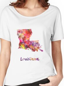 Louisiana US state in watercolor Women's Relaxed Fit T-Shirt