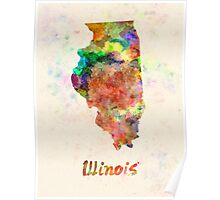 Illinois US state in watercolor Poster