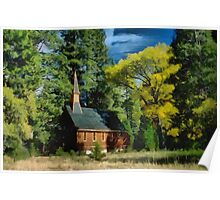 Church nestled in the woods Poster