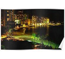 Coastal City at Night Poster