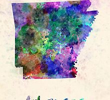 Arkansas US state in watercolor by paulrommer