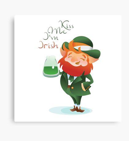 Kiss Me I'm Irish Leprechaun Canvas Print