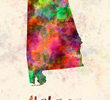 Alabama US state in watercolor by paulrommer