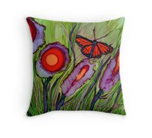 Flower Pops and Flutterbyes~Alcohol Ink Design Throw Pillow
