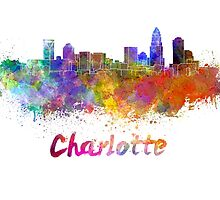 Charlotte skyline in watercolor by paulrommer