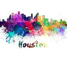 Houston skyline in watercolor by paulrommer