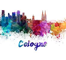 Cologne skyline in watercolor by paulrommer