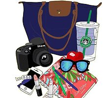 longchamp tote and accessories by Emily Grimaldi
