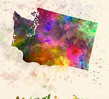 Washington US state in watercolor by paulrommer